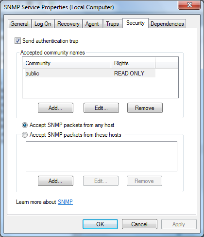 SNMP configuration options